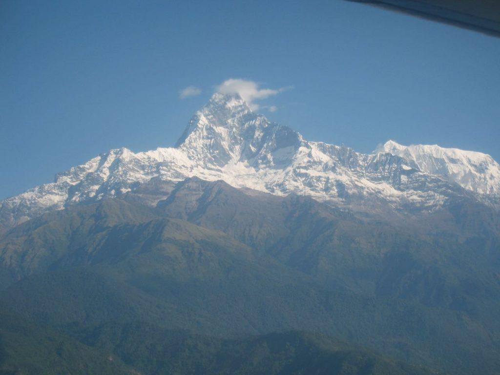 飛行機からはマチャプチャレが見えた 2007 ジョムソン・トレッキング