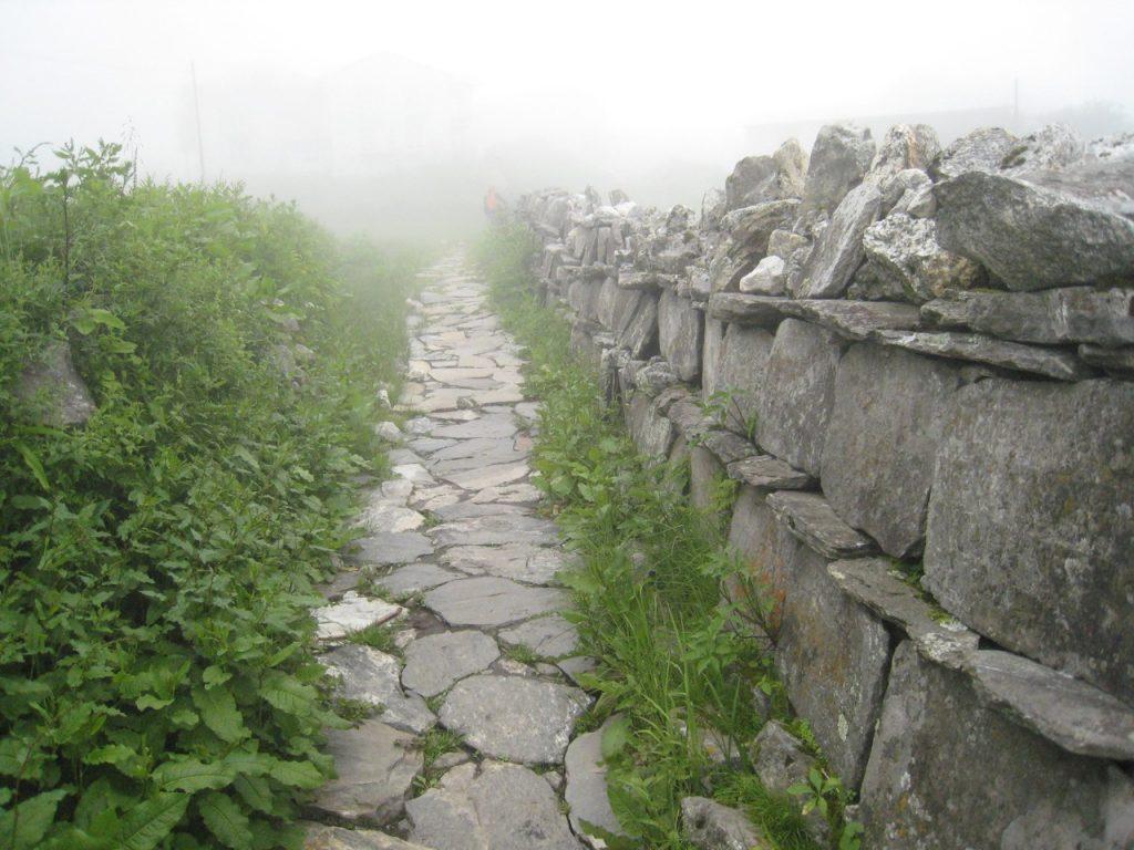 路の中央に積まれるマニ石の壁 2008 ランタン・トレッキング