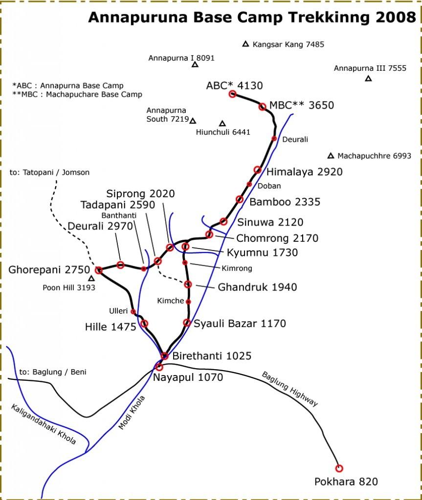アンナプルナ・ベースキャンプ・トレッキングマップ