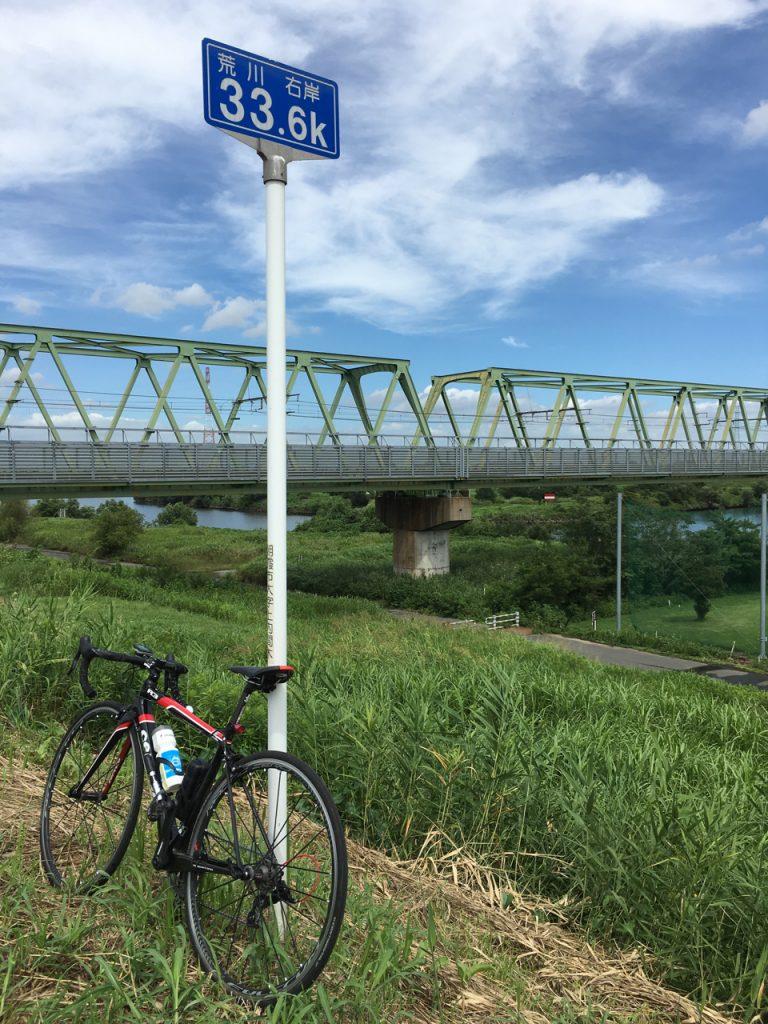 右岸側33.6km地点 武蔵野線橋梁 2016/8/21