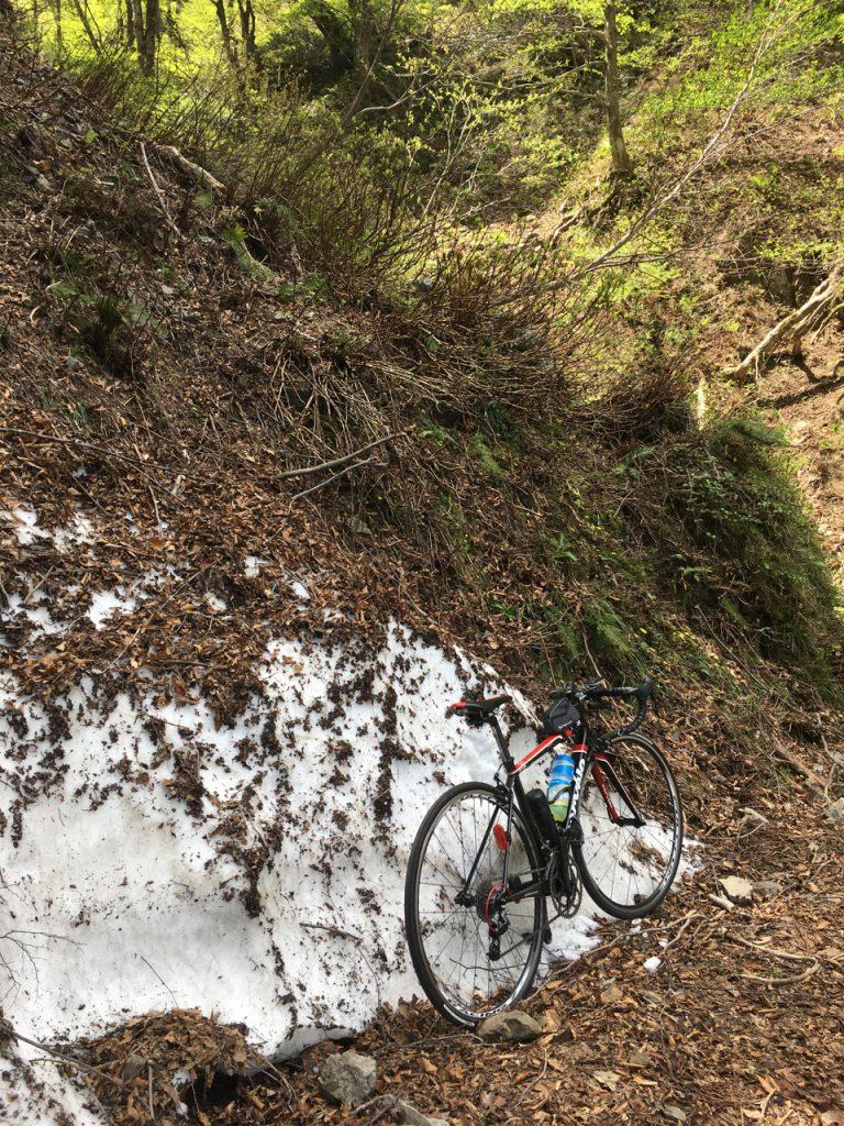 折越林道には雪が残っていた
