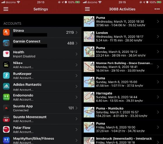Rungapの設定とアクティビティ画面